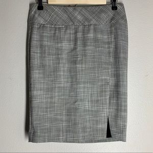 Express Gray Pencil Skirt Front Side Slit Plaid